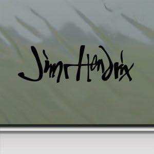 Jimi Hendrix firma guitarra logotipo negro adhesivo para lunas de coche de pared Macbook ordenador portátil adhesivo