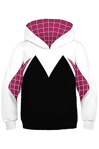 Kids Girls Spider-Verse Spider-Gwen Hoodie Pullover Sweatshirt 4-13 Years (S, White)