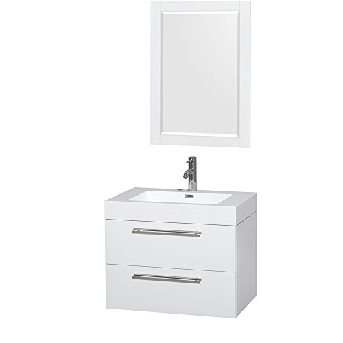 Wyndham Collection Amare 30 inch Single Bathroom Vanity in Glossy White, Acrylic Resin Countertop, Integrated Sink, and 24 inch Mirror