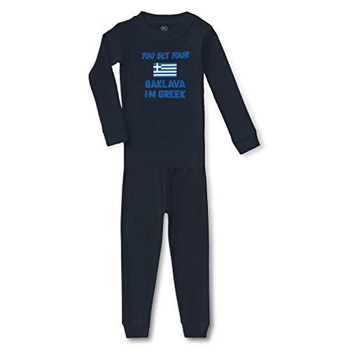 You Bet Your Baklava I'm Greek Cotton Crewneck Boys-Girls Infant Long Sleeve Sleepwear Pajama 2 Pcs Set Top and Pant - Navy, 5/6T ()