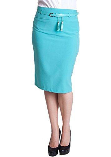 Woman Mint Plus Size Tassel Belt Zipper Back Pencil Skirt