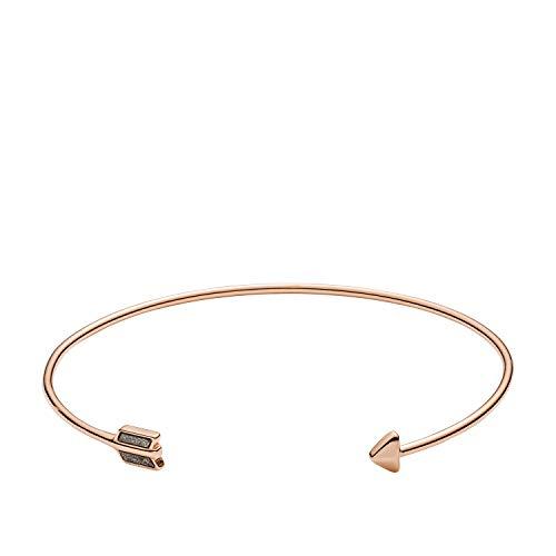 (Fossil Women's Bronzite Rose Gold-Tone Steel Cuff Bracelet, One Size)