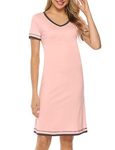 Hawiton Women V Neck Contrast Nightgowns Dress Cotton Short Sleeve Sleepshirts Pink