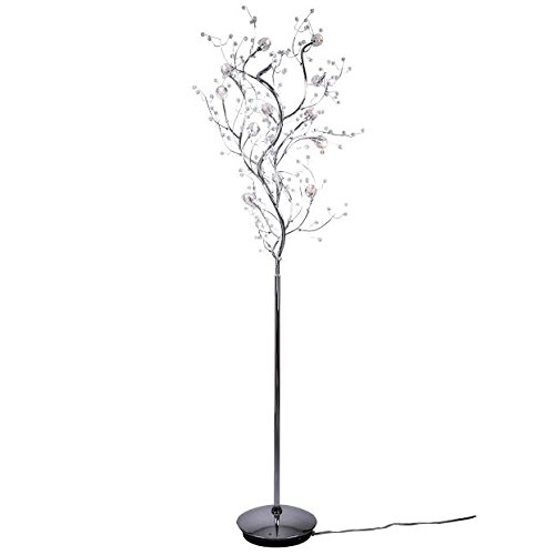 Viviana Collection 8 Light Tree Like Crystal Floor Lamp with Chrome Finish - Crystal Halogen Floor Lamp