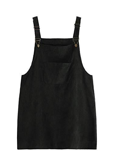 Romwe Women's Plus Size Pocket Front Adjustable Straps Corduroy Pinafore Short Dress Black 2X Plus