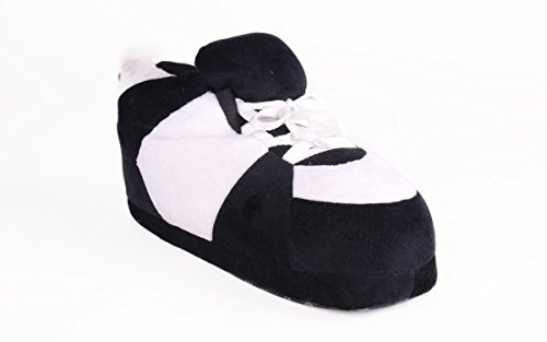 Happy Feet Mens and Womens Standard Sneaker Slippers Black and White CEs5CV