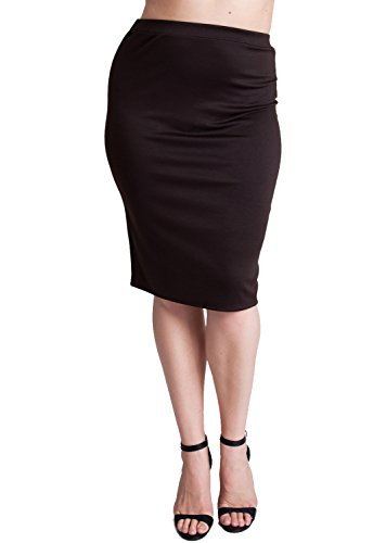 Woman Brown Plus Size Banded Waistline Pencil Skirt