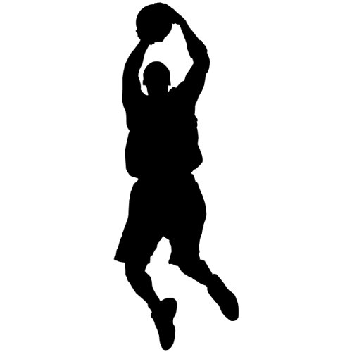 Applique Mural - Basketball Wall Decal Sticker 1 - Decal Stickers and Mural for Kids Boys Girls Room and Bedroom. Sport Vinyl Decor Wall Art for Home Decor and Decoration - Basketball Player Silhouette Mural