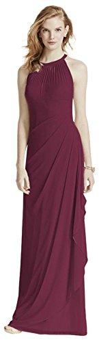 Long Mesh Bridesmaid Dress With Illusion Neckline Style F15662  Wine  8