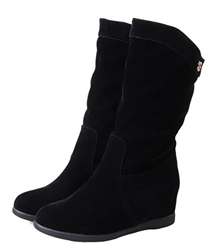 Puntera Sin Botas Tacón Black Medio Media Redonda Ageemi Cordones Caña Shoes Mujer qfOwIvE8