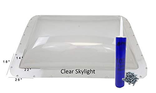 Class A Customs Premium Heavy Duty RV Camper Trailer Skylight - 18 x 26 OD / 14 x 22 ID Clear - Install Kit CS