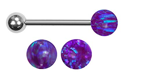 playful piercings Sleepy Lavender Sparkling Synthetic Dark Purple fire Opal Ball Barbell Tongue Ring bar - 14g