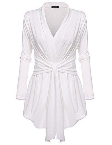 White Lightweight Belted Jacket - Beyove Women's Long Sleeve Travel Lightweight Cardigan Drape Soft Knit Open Front Cardigan Sweater Plus Size
