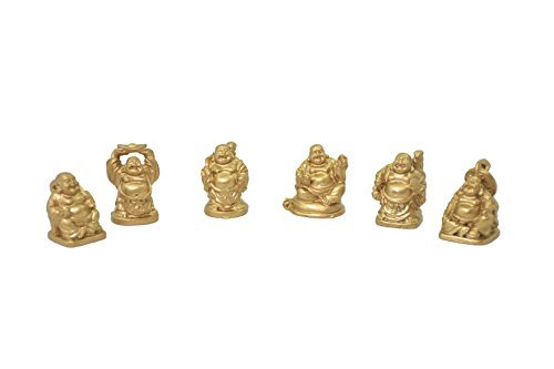 LAUGHING BUDDHA STATUES 6 FIGURINES SET GOLD - 1