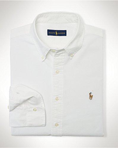 Ralph Lauren Men Solid Sport Oxford Shirt (Medium, White)