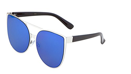 Oversized Cateye Sunglasses Metal Rimmed Flash Lens Mod Fashion Eyewear (Silver/Blue, - Rb3025 W3277