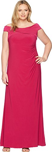 Long Jersey Matte Dress (Adrianna Papell Women's Plus Size Shoulder Draped Matte Jersey Long Mermaid Gown, Bright Syrah, 20W)