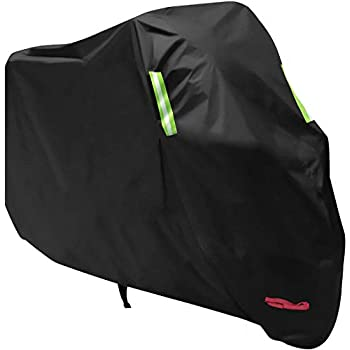 Waterproof Motorcycle Cover, All Weather Outdoor Protection, 210D Oxford Durable and Tear Proof for 104 inches XXL Motorcycles like Honda, Yamaha, Suzuki, Harley and More