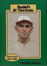 George Sisler 1987 Baseball All Time Greats Baseball Card At