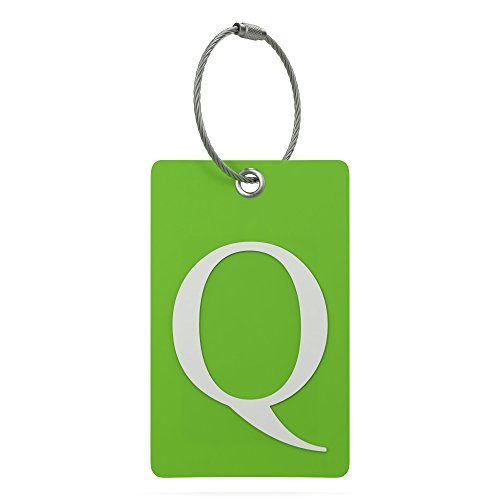 Luggage Tag Initial - Fully Bendable Tag w/ Stainless Steel Loop (Letter Q) (Initial Tag)