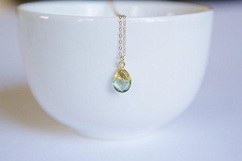 Lime Topaz Stone - Green Topaz Gemstone Teardrop Gold Filled Necklace - 16
