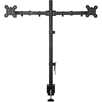 """WALI Extra Tall  Dual LCD Monitor Desk Mount  Fully Adjustable Fits Two Screens up to 27"""", 22 lbs per Arm Capacity, C-Clamp / Grommet Base (WL-M002XL)"""