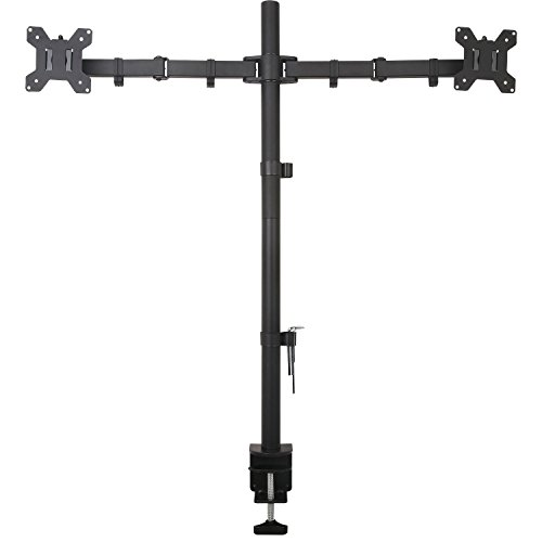 "WALI Extra Tall Dual LCD Monitor Desk Mount Fully Adjustable Fits Two Screens up to 27"", 22 lbs per Arm Capacity, C-Clamp / Grommet Base (WL-M002XL)"