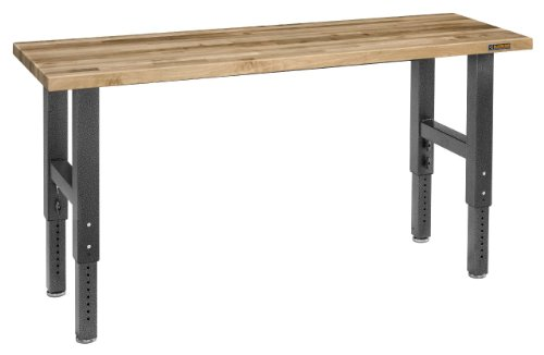 Gladiator GAWB06MTZG 6' Adjustable Height Maple Workbench with Hammered Granite Finish