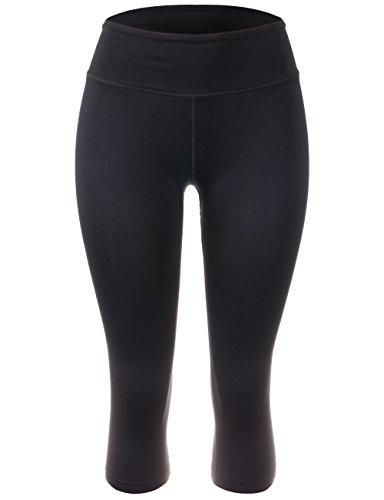 BEKDO Womens Capri Legging For Performance Workout Tights Yoga Gym Pants-L-Black by BEKDO
