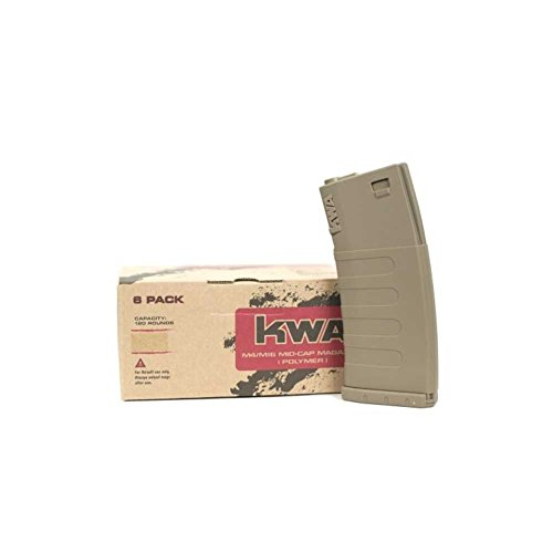 (KWA Airsoft M14/M16 Mid-Cap 120 Rounds Polymer Magazine Dark Earth (6 Pack))