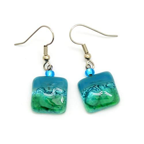 Small Square Fused Glass Earrings - Aqua Blue & Turquoise