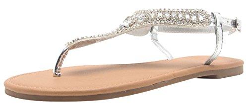 546472943f211 Cambridge Select Women s T-Strap Crystal Rhinestone Beaded Flat Thong Sandal