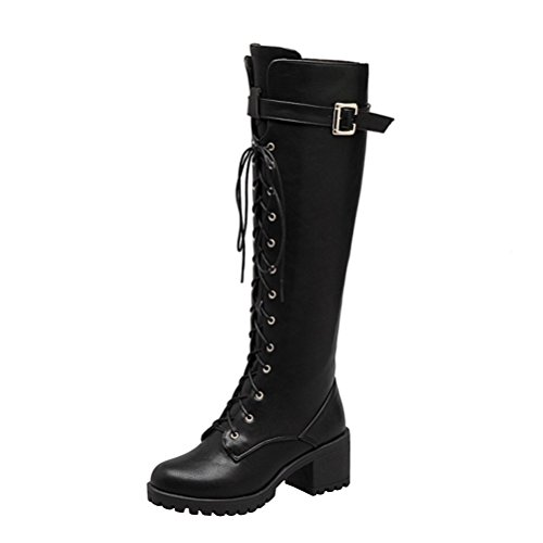 Agodor Womens Knee High Lace Up Mid Block Heel Platform Long Boots With Zip Buckle Winter Shoes Black uMNBnt