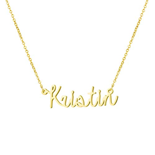 Awegift Personalized Name Necklace 18K Gold Plated New Mom Bridesmaid Gift Jewelry for Kristin - New Name Necklace
