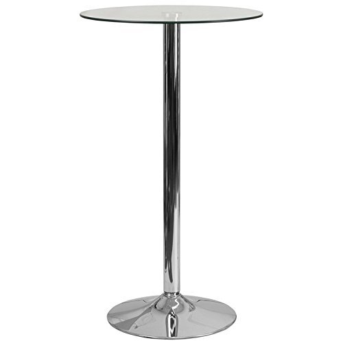 Pub Table Round Shape with Chrome Metal Base and Glass Top 41.75'' H x 23.75'' W x 23.75'' D in. by Wade Logan