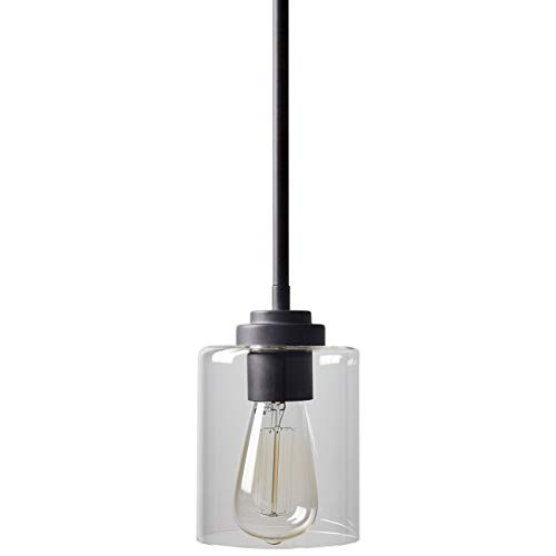 Stone & Beam Modern Farmhouse Glass Cylinder Pendant Light Fixture With Light Bulb - 4.75 Inch Shade, 10 - 58 Inch Cord, Oil-Rubbed Bronze