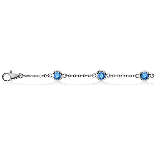 Blue Diamonds by The Yard Bezel-Set Ankle Bracelet for Women 14K White Gold (1.00ct)