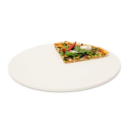 Relaxdays 10019339 Pizzastein für Backofen rund, Baking Stone aus Cordierit für knusprige Steinofenpizza wie in Pizzeria Grillstein für Pizza, Brot und Flammkuchen in Herd und Grill, Durchmesser 33 cm, 1 cm dick, beige