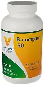 BComplex 50 – Supports Energy Production, Nervous System Function Nutrient Metabolism – Excellent Source of B1, B2, B6, B12, Niacin, Folic Acid Biotin (300 Softgels) by The Vitamin Shoppe