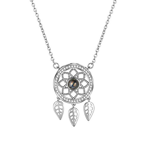 How To Make Sterling Silver Dreamcatcher Earrings - Kalmstore Bohemian Dream Catcher Necklace with Dangling Feather Pendant Necklace Gift (Silver)