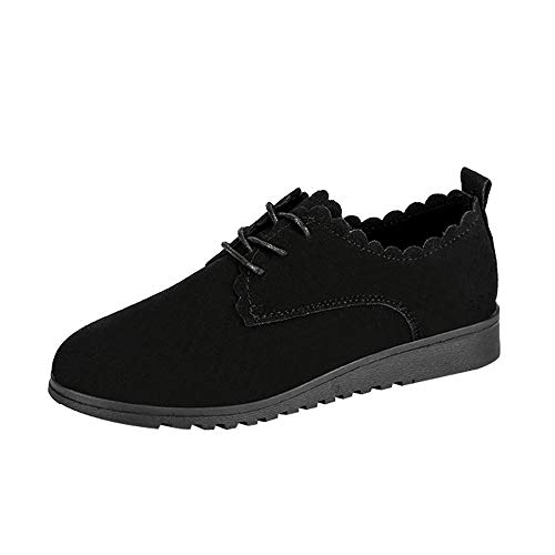 Longra Women Martin Boots, Ladies Shoes Fashion Ankle Flat Suede Casual Lace Up Shoes Short Boots Black