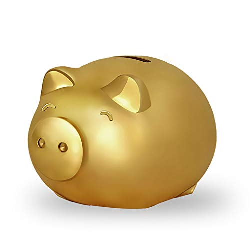Symbolize Coin Gold - Golden Pig Piggy Bank Coin Bank Paper Money Piglet Decoration Lovely Children's Birthday Gift Gift in Gift Box Pure Copper (Color : Gold, Size : 15.5129.5cm)