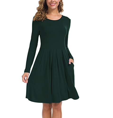 KORSIS Women's Long Sleeve Pleated Loose Swing Casual Dress with Pockets DarkGreen XS