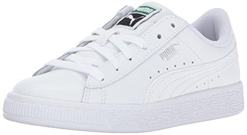 (PUMA Unisex Basket Classic LFS Kids Sneaker,  white- white, 1 M US Little)