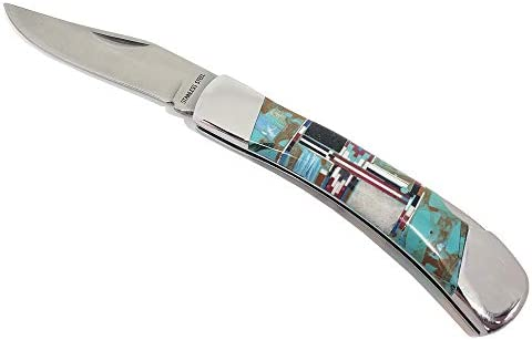 Fronay Collection Turquoise Trapper Folding Pocket Knife Stainless Steel Edge Blade
