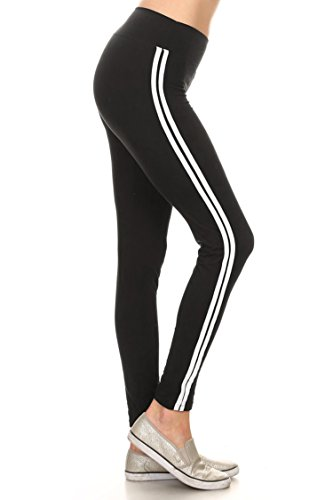 Leggings Mania Women's Sporty Striped High Banded Waist Leggings Black Black Opaque Vertical Stripes