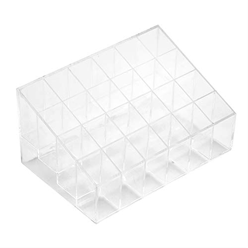 Garosa Soporte para Lápiz Labial 24 Rejillas de Plástico Transparente Brillo Labial Caja Expositor Organizador de...