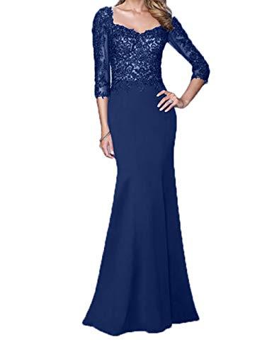 Langarm Meerjungfrau Blau Promkleider Abendkleider Brautmutterkleider Dunkel Damen Royal Ballkleider Spitze Rock lang Charmant mit ZA06vqwnx