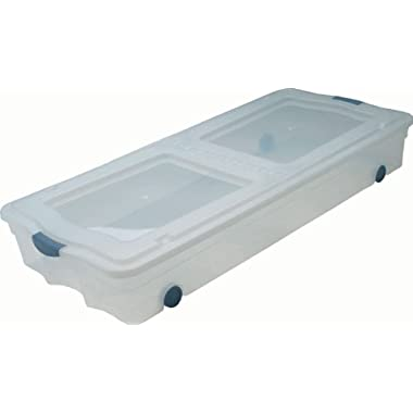 GSC UB2042 Under-Bed Box with Wheels, Clear Base