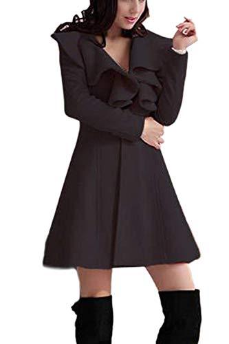 Outerwear Manica neck Monocromo Trench Invernali Fit Eleganti Donna V Giaccone Cappotto Moda Slim Coat Vintage Lunga Autunno Nero twFwZqx1